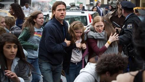 "Brad Pitt is Gerry Lane, Abigail Hargrove is Rachel Lane, and Mireille Enos is Karin Lane in ""World War Z."""