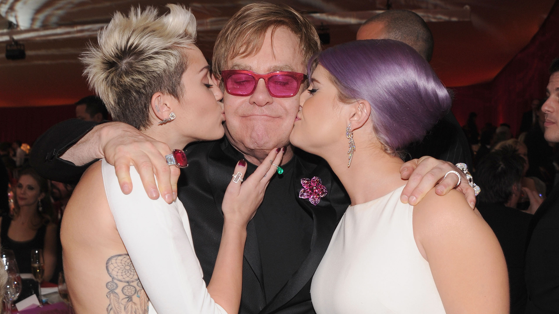Miley Cyrus, Elton John and Kelly Osbourne at the 2013 Elton John party