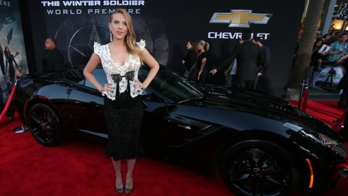 Scarlett Johansson with the new Corvette