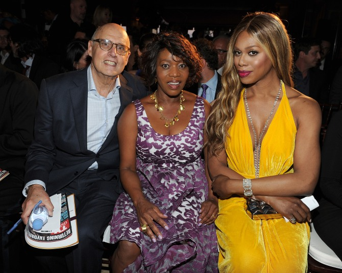 WEST HOLLYWOOD - SEPTEMBER 18: Jeffrey Tambor, Alfre Woodard, and Laverne Cox attend the 2015 Television Industry Advocacy Awards benefitting The Creative Coalition in partnership with TV Guide Magazine at the Sunset Tower Hotel on September 18, 2015 in West Hollywood, California. (Photo by Frank Micelotta/PictureGroup)