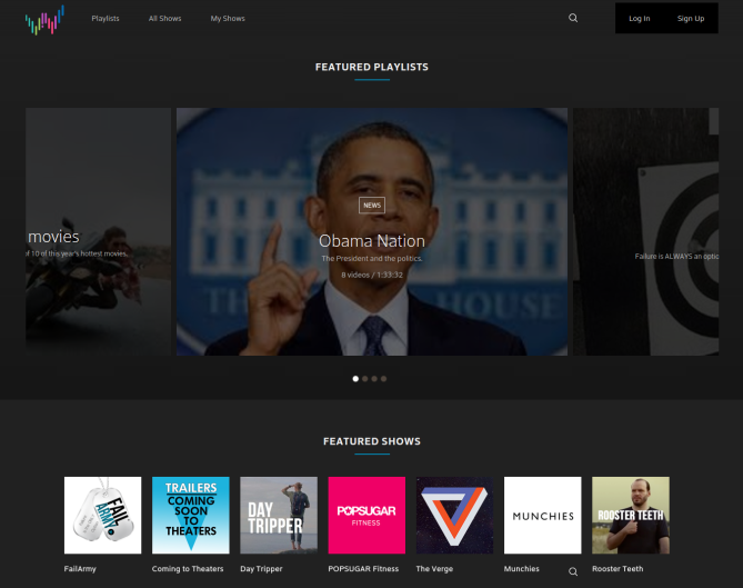 The Watchable homepage.