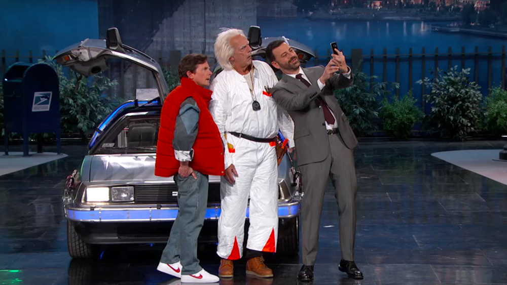Video Back To The Future S Marty Mcfly Doc Brown Visit Kimmel Variety