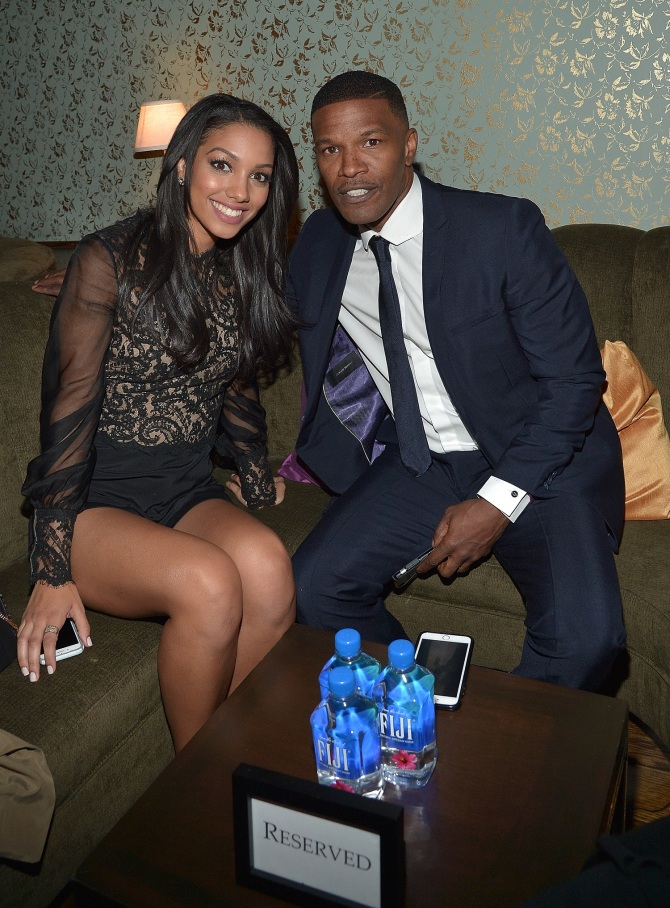 WEST HOLLYWOOD, CA - NOVEMBER 17: Miss Golden Globe 2016 Corinne Foxx and actor Jamie Foxx attend FIJI Water At The HFPA And InStyle Celebration of Miss Golden Globe 2016 at Ysabel on November 17, 2015 in West Hollywood, California. (Photo by Charley Gallay/Getty Images for FIJI Water)