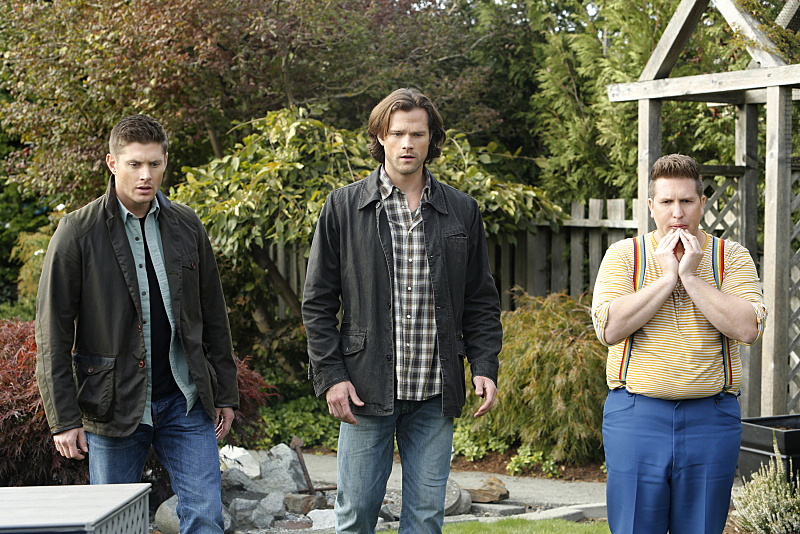 """Supernatural -- """"Just My Imagination"""" -- Image SN1108B_0065.jpg -- Pictured (L-R): Jensen Ackles as Dean, Jared Padalecki as Sam and Nate Torrence as Sully -- Photo: Bettina Strauss/The CW -- © 2015 The CW Network, LLC. All Rights Reserved."""