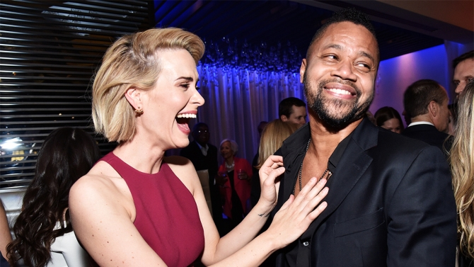 Mandatory Credit: Photo by Rob Latour/Variety/REX/Shutterstock (5572609g) Sarah Paulson and Cuba Gooding Jr. 'The People v. O.J. Simpson: American Crime Story' film premiere, Inside, Los Angeles, America - 27 Jan 2016