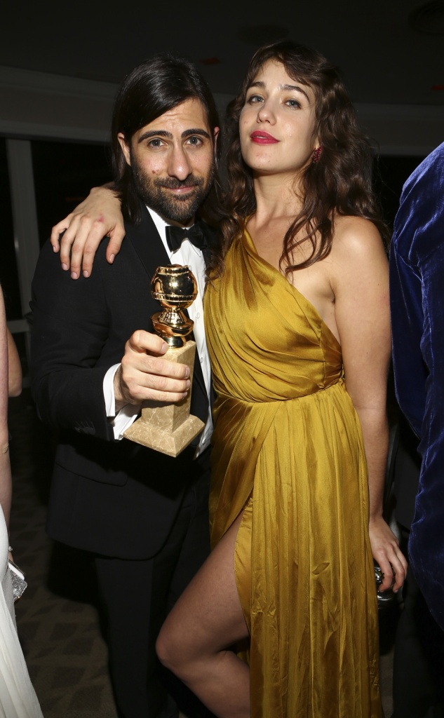 "Jason Schwartzman and Lola Kirke celebrate ""Mozart in the Jungle's"" win at the Amazon party"
