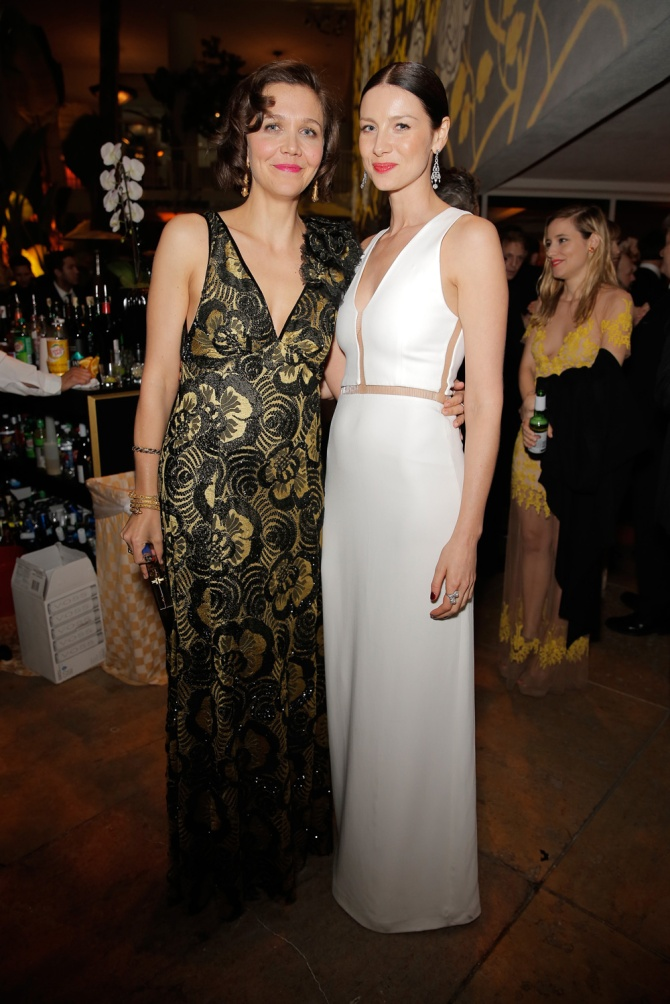 "Maggie Gyllenhaal with ""Outlander's"" Caitriona Balfe at the HBO party"