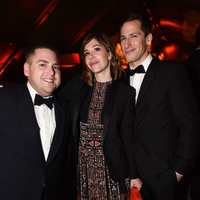 Mandatory Credit: Photo by Buckner/Variety/REX/Shutterstock (5528321ac) Carrie Brownstein, Andy Sandberg and Jonah Hill The Weinstein Company and Netflix Golden Globe After Party, Los Angeles, America - 10 Jan 2016