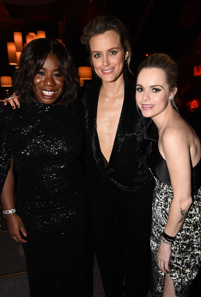 Mandatory Credit: Photo by Buckner/Variety/REX/Shutterstock (5528321k) Uzo Aduba, Taylor Schilling and Taryn Manning The Weinstein Company and Netflix Golden Globe After Party, Los Angeles, America - 10 Jan 2016