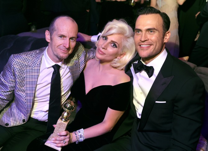 Mandatory Credit: Photo by Stephen Lovekin/Variety/REX/Shutterstock (5528328a) Denis O'Hare, Lady Gaga and Cheyenne Jackson FOX Golden Globes Party, Inside, Los Angeles, America - 10 Jan 2016