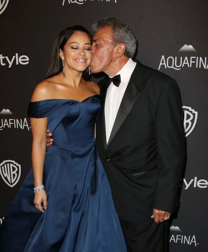 Mandatory Credit: Photo by Matt Baron/BEI/Shutterstock (5528422ds) Gina Rodriguez and father InStyle And Warner Bros Golden Globe Party, Los Angeles, America - 10 Jan 2016