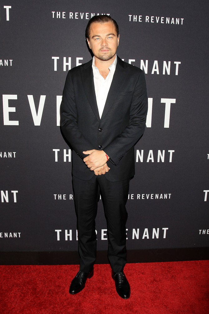 """- New York, NY - 1/6/16 - Regency Enterprises & 20th Century Fox Present The New York Premiere of """"The Revenant"""". -PICTURED: Leonardo DiCaprio -PHOTO by: Dave Allocca/Startraksphoto.com -FILENAME: DA_16_6003498.JPG -LOCATION: AMC Loews Lincoln Square IMAX Startraks Photo New York, NY For licensing please call 212-414-9464 or email sales@startraksphoto.com Image may not be published in any way that is or might be deemed defamatory, libelous, pornographic, or obscene. Please consult our sales department for any clarification or question you may have. Startraks Photo reserves the right to pursue unauthorized users of this image. If you violate our intellectual property you may be liable for actual damages, loss of income, and profits you derive from the use of this image, and where appropriate, the cost of collection and/or statutory damages."""