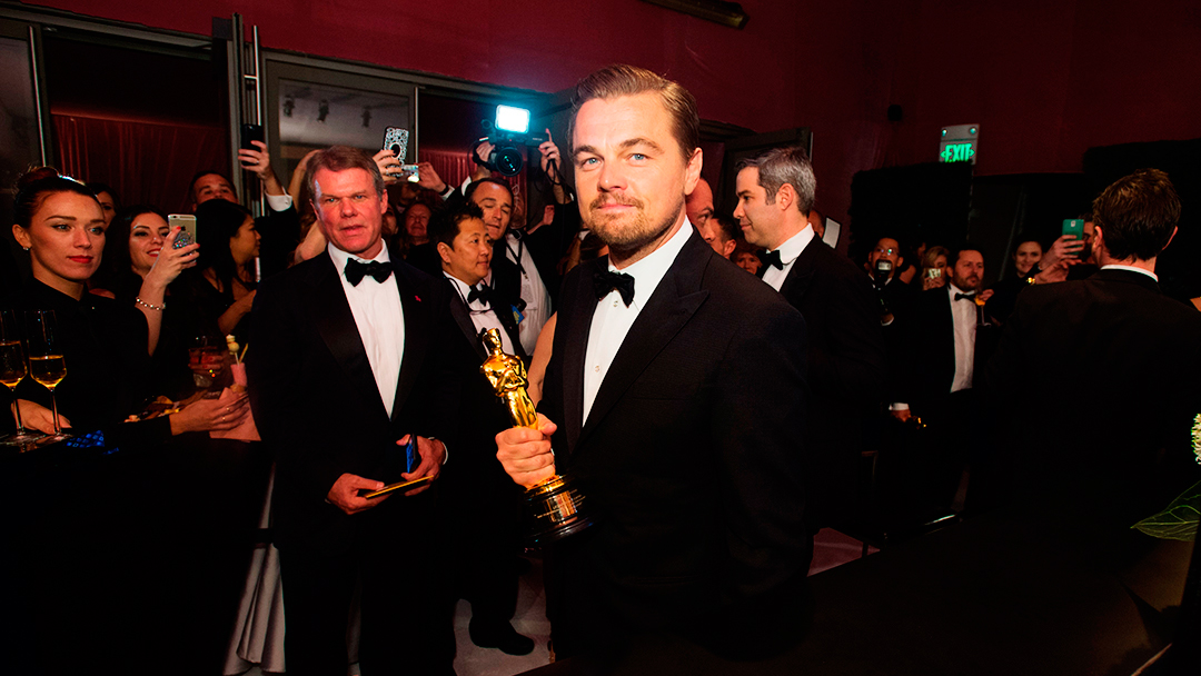 EDITORIAL USE ONLY. NO BOOK PUBLISHING WITHOUT PRIOR APPROVAL Mandatory Credit: Photo by Mandatory Credit - A.M.P.A.S/REX/Shutterstock (5600348w) A.M.P.A.S. Oscar®-winner, Leonardo DiCaprio, at the Governors Ball following the live ABC Telecast of The 88th Oscars® 88th Annual Academy Awards, Governor's Ball, Inside, Los Angeles, America - 28 Feb 2016
