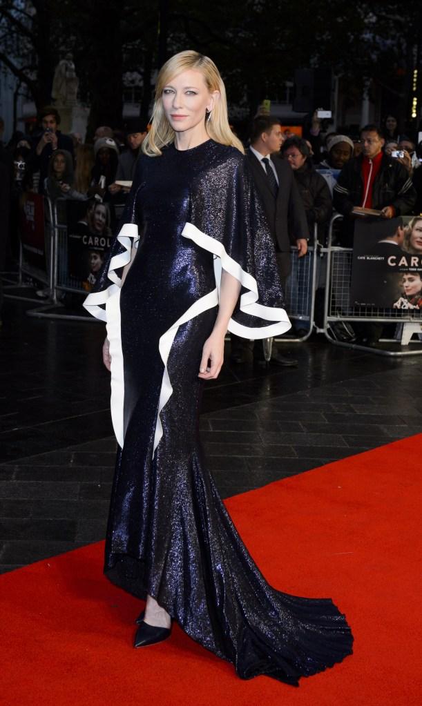 Mandatory Credit: Photo by Jonathan Hordle/REX/Shutterstock (5249364aa) Cate Blanchett 'Carol' premiere, 59th BFI London Film Festival, Britain - 14 Oct 2015 WEARING ESTEBAN CORTAZAR SAME OUTFIT AS CATWALK MODEL 5224718m
