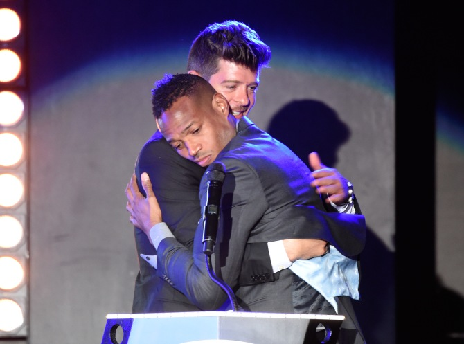 Mandatory Credit: Photo by Buckner/Variety/REX/Shutterstock (5593902ct) Robin Thicke and Marlon Wayans All Def Movie Awards, Los Angeles, America - 24 Feb 2016 First Annual All Def Movie Awards Celebrating Diversity and Entertainment Broadcast on Fusion Feb 28 @ 7pm
