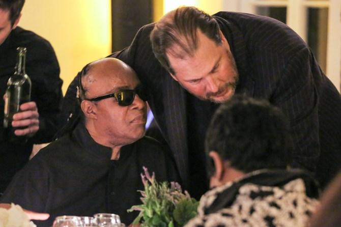 Mandatory Credit: Photo by Chelsea Lauren/Variety/REX/Shutterstock (5598018de) Stevie Wonder, Marc Benioff Dinner for Equality, Los Angeles, America - 25 Feb 2016