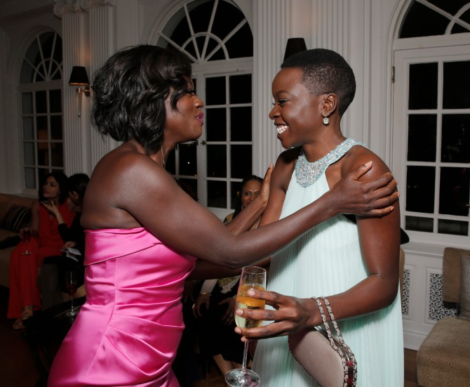 Viola Davis and Danai Gurira attend Alfre Woodard's 2015 Oscar's Sistahs Soirée sponsored by White Diamond Lustre, Elizabeth Taylor and Piper-Heidseick. Event Design by AOO Events and transportation provided by Audi, at the Beverly Wilshire on Wednesday, February 18, 2015 in Los Angeles.(Photo by Todd Williamson/Invision for Alfre Woodard/AP Images)