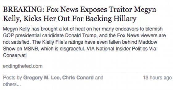 Fake Facebook story about Megyn Kelly firing