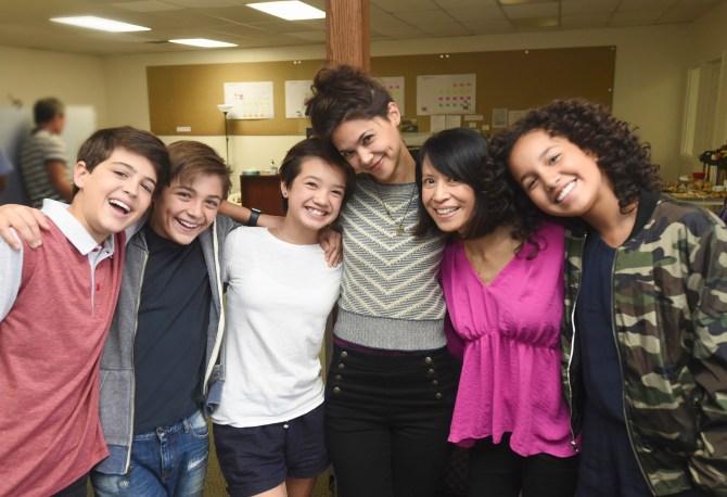 "ANDI MACK - Disney Channel's new series ""Andi Mack,"" from creator and executive producer Terri Minsky, begins production in Salt Lake City, Utah. (Disney Channel/Fred Hayes) JOSHUA RUSH, ASHER ANGEL, PEYTON ELIZABETH LEE, LILAN BOWDEN, LAUREN TOM, SOFIA WYLIE"