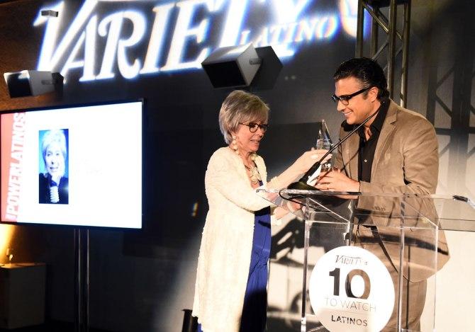 Rita Moreno accepts the Variety Latino Legacy Award from Jaime Camil.
