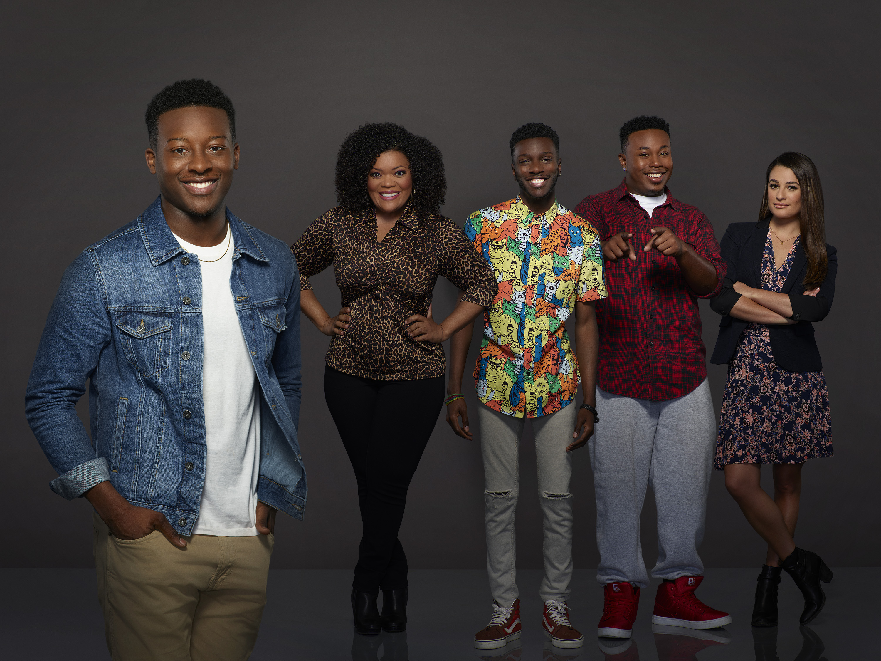 "THE MAYOR - ABC's ""The Mayor"" stars Brandon Micheal Hall as Courtney Rose, Yvette Nicole Brown as Dina Rose, Bernard David Jones as Jermaine Hardaway, Marcel Spears as T.K. Carter and Lea Michele as Valentina Flores. (ABC/Craig Sjodin)"