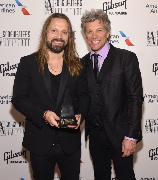 NEW YORK, NY - JUNE 15:  2017 Inductee Max Martin poses backstage with Jon Bon Jovi at the Songwriters Hall Of Fame 48th Annual Induction and Awards at New York Marriott Marquis Hotel on June 15, 2017 in New York City.  (Photo by Larry Busacca/Getty Images for Songwriters Hall Of Fame) *** Local Caption *** Max Martin; Jon Bon Jovi