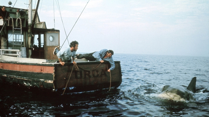 No Merchandising. Editorial Use Only. No Book Cover Usage. Mandatory Credit: Photo by Universal/Kobal/REX/Shutterstock (5886241q) Jaws (1975) Jaws - 1975 Director: Steven Spielberg Universal USA Scene Still Les Dents de la mer