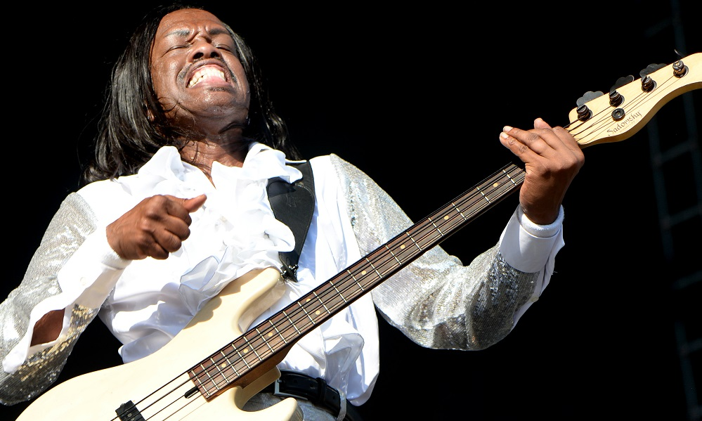 LOS ANGELES, CA - JULY 16: Verdine White of Earth Wind and Fire performs onstage during The Classic West at Dodger Stadium on July 16, 2017 in Los Angeles, California. (Photo by Kevin Mazur/Getty Images for Scoop Marketing)