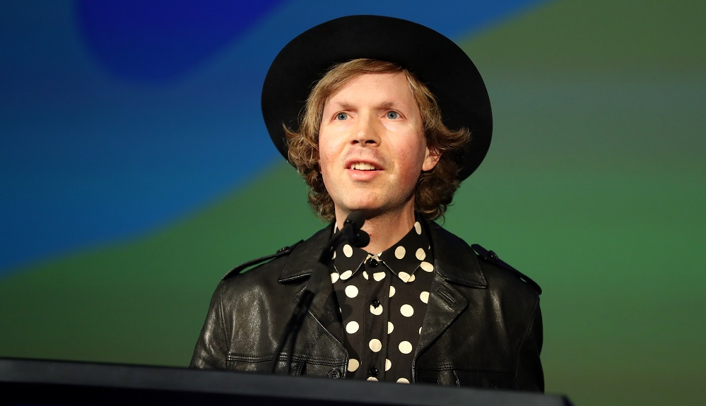 Beck speaks onstage during the Capitol Congress at the ArcLight Cinemas on August 9, 2017.