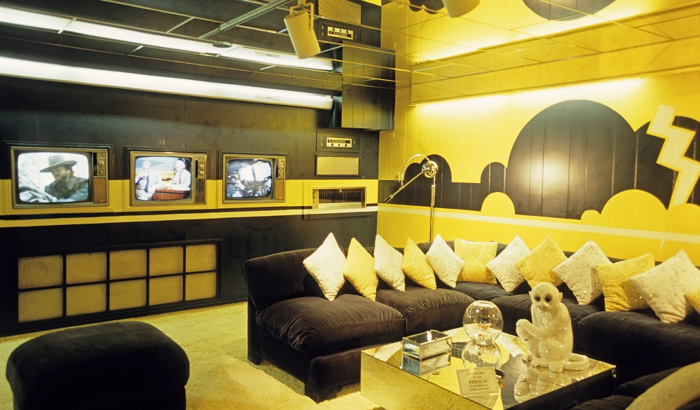 The TV and audio room at Elvis Presley's home 'Graceland' in Memphis. Tennessee, America. Highway 61, The Blues Highway from Lousiana through Mississippi to Tennessee, America