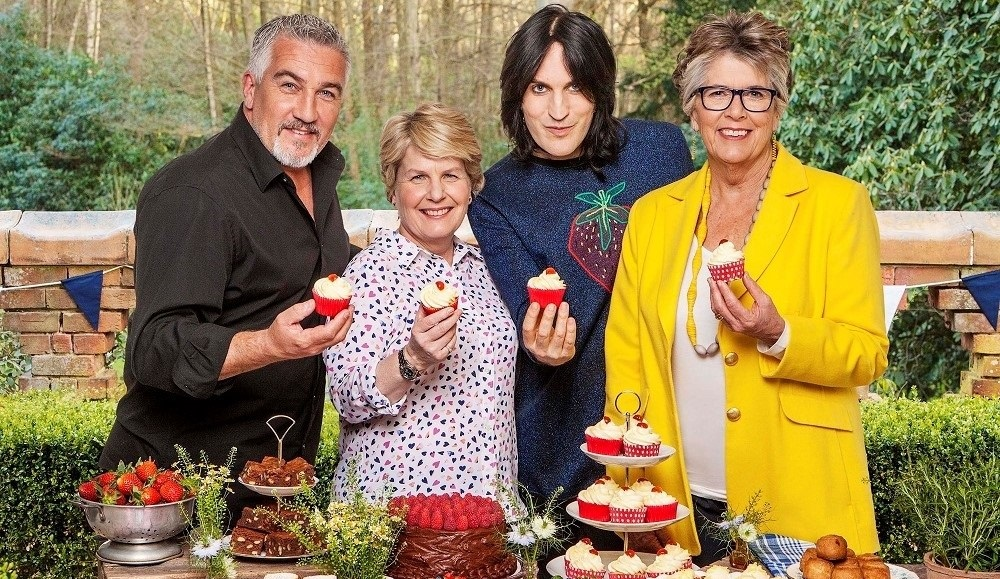 THE GREAT BRITISH BAKE OFF 8 2017: - Left To Right: Paul Hollywood, Sandi Toksvig, Noel Fielding, Prue Leith.(© Love Productions / Channel 4 / Mark Bourdillon)