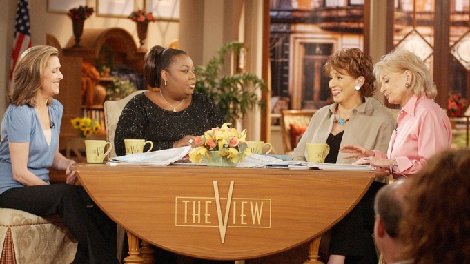 """Meredith Vieira, left, Star Jones, Joy Behar and Barbara Walters appear on the set of ABC's """"The View"""" in New York, . The show's co-hosts have their first live primetime special planned, """"The View: His & Her Body Test,"""" airing June 16, 2003 at 10 p.m. EDT, which will feature celebrity appearances and a real-time quiz on health issues that viewers can take from homeTV THE VIEW, NEW YORK, USA"""