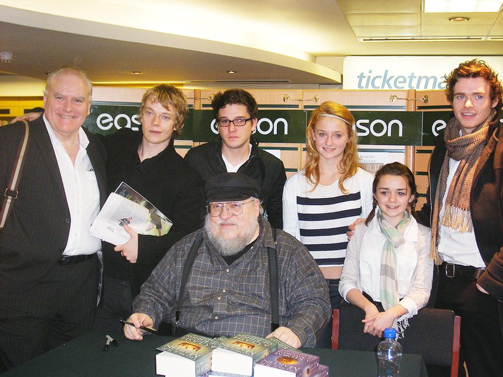 Ron Donachie, Alfie Allen, Kit Harington, Sophie Turner, Maisie Williams, Richard Madden and George R.R. Martin (front).