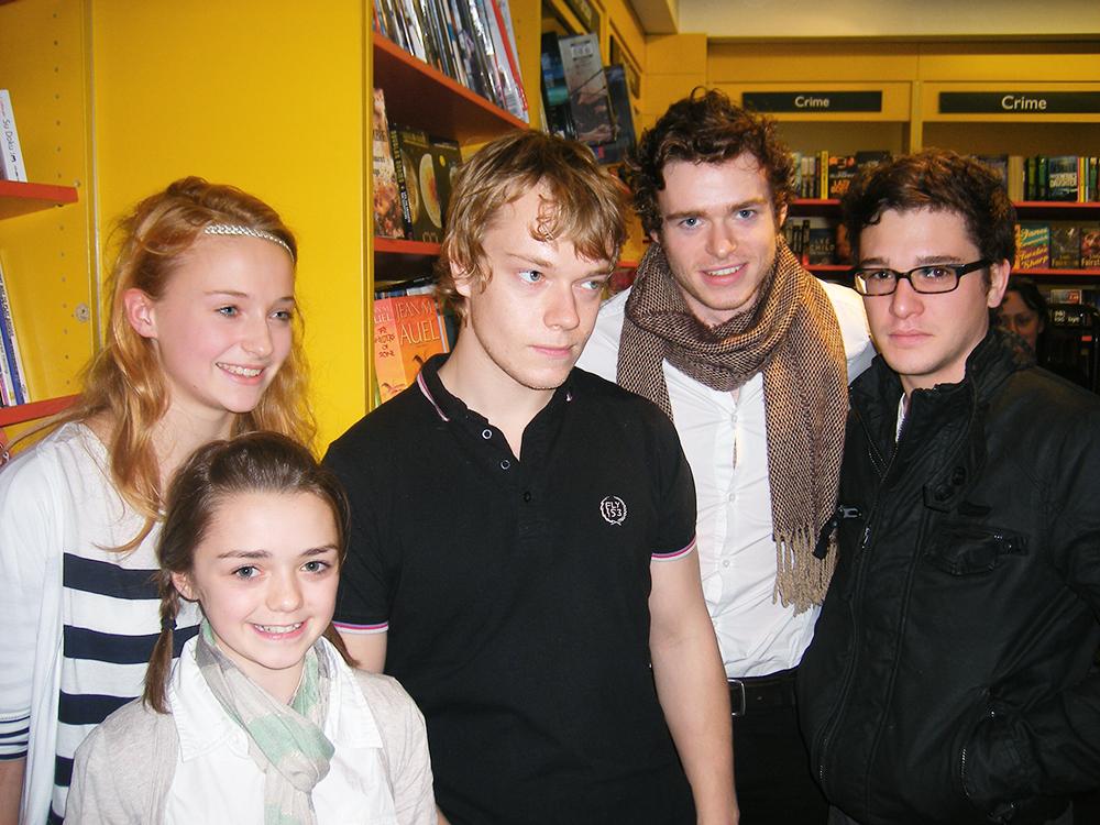 Maisie Williams, Sophie Turner, Alfie Allen, Richard Madden, Kit Harington in Belfast in 2009.