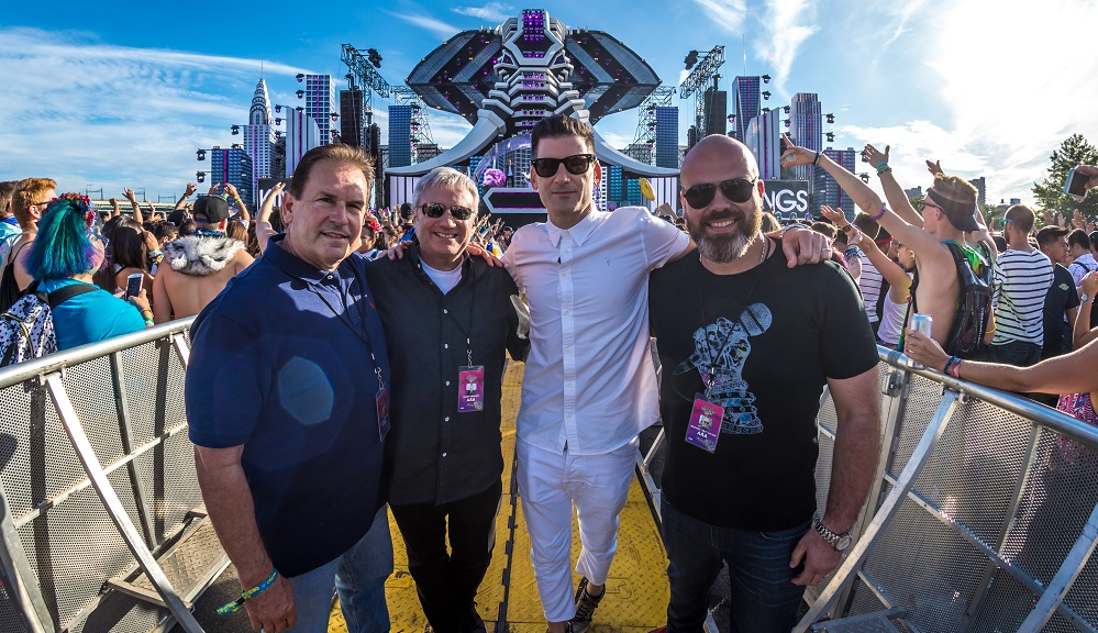 "Chuck Ciongoli, Randy Phillips​, Gary Richards & Made Event's Michael Julian ​ at ""Electric Zoo: the 6th Boro"" at Randall's Island Park in NYC."