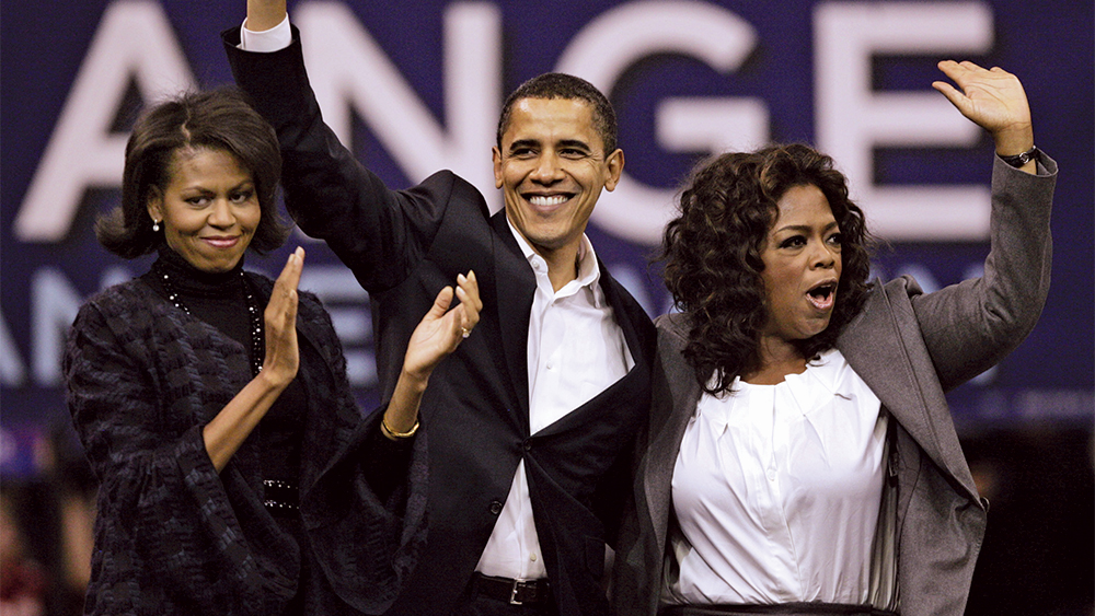 Barack Obama, Oprah Winfrey, Michelle Obama Democratic presidential hopeful, Sen. Barack Obama, D-Ill., his wife Michelle, left, and Oprah Winfrey wave to the crowd at the end of a rally in Manchester, N.H Oprah Obama 2008, Manchester, USA