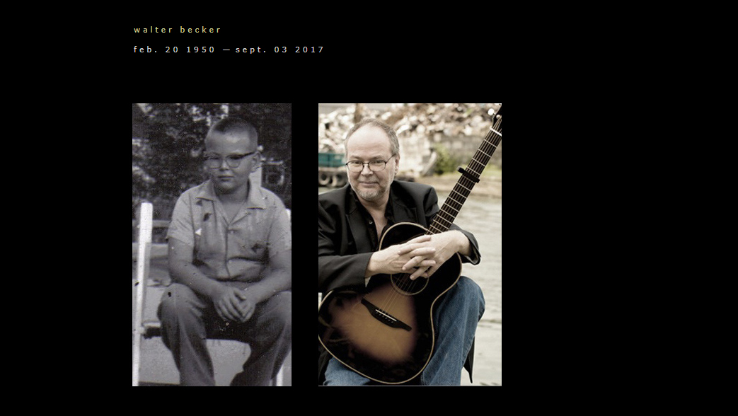 Memorial homepage at WalterBecker.com on morning of longtime Steely Dan guitarist Walter Becker's death at 67.