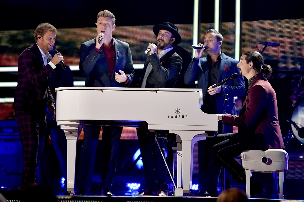 NASHVILLE, TN - OCTOBER 18: Brian Littrell, Nick Carter, AJ McLean, Howie Dorough, and Kevin Richardson of the Backstreet Boys perform onstage at the 2017 CMT Artists Of The Year on October 18, 2017 in Nashville, Tennessee. (Photo by John Shearer/Getty Images for CMT)