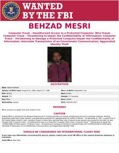 Behzad Mesri - FBI Wanted Poster
