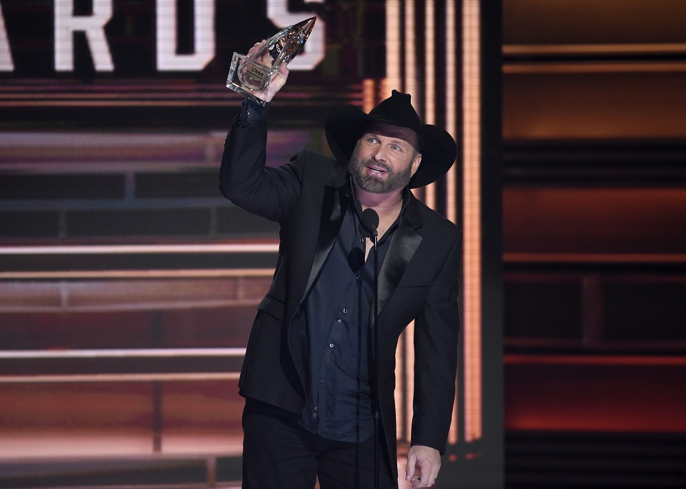 Garth Brooks accepts the award for entertainer of the year at the 51st annual CMA Awards at the Bridgestone Arena, in Nashville, Tenn51st Annual CMA Awards - Show, Nashville, USA - 08 Nov 2017