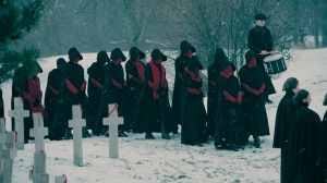 """THE HANDMAID'S TALE -- The Emmy-winning drama series returns with a second season shaped by Offred's pregnancy and her ongoing fight to free her future child from the dystopian horrors of Gilead. """"Gilead is within you"""" is a favorite saying of Aunt Lydia. In Season Two, Offred and all our characters will fight against – or succumb to – this dark truth.(Photo by: Take Five/Hulu)"""