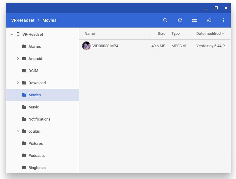Oculus Go file system Chrome OS