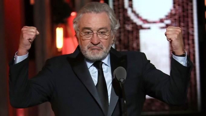 Robert De Niro gestures while introducing