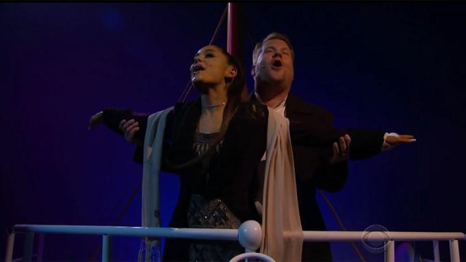 Ariana Grande and James Corden Perform
