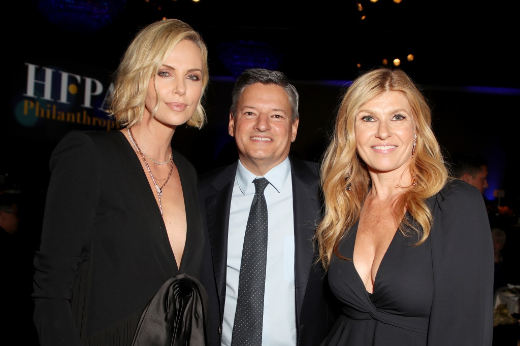 Charlize Theron, Ted Sarandos and Connie Britton Hollywood Foreign Press Association Annual Grants Banquet, Inside, Los Angeles, USA - 09 Aug 2018