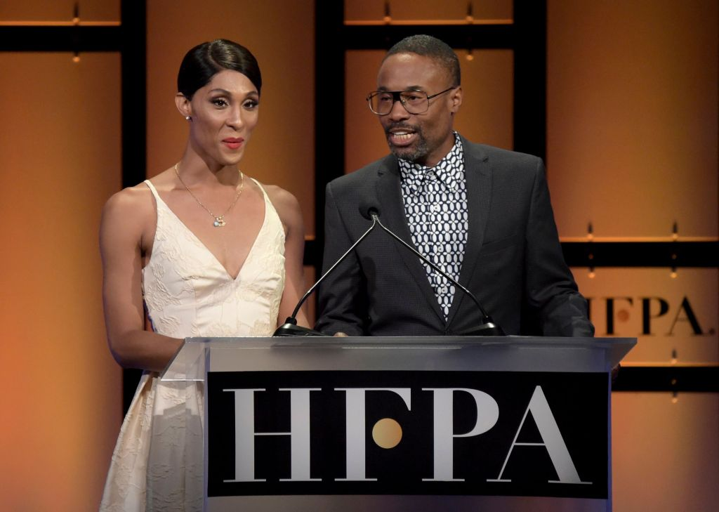 Mj Rodriguez, Billy Porter. Mj Rodriguez, left, and Billy Porter speak at the Hollywood Foreign Press Association Grants Banquet at The Beverly Hilton hotel, in Beverly Hills, Calif2018 Hollywood Foreign Press Association Grants Banquet - Show, Beverly Hills, USA - 09 Aug 2018