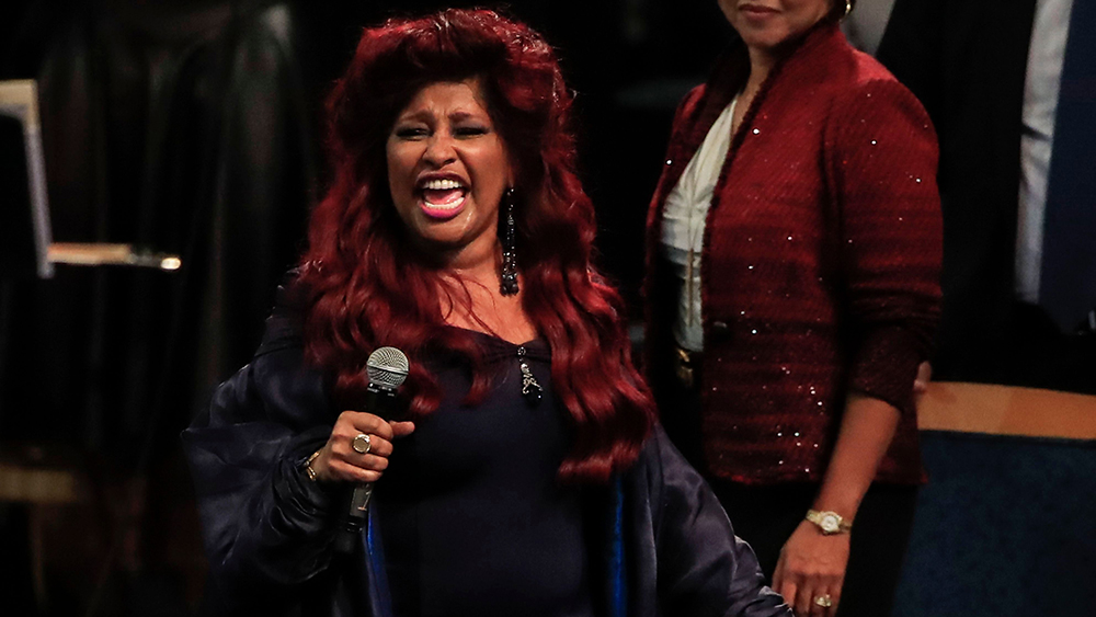 US recording artist Chaka Khan performs during the funeral service for US singer Aretha Franklin at the Greater Grace Temple in Detroit, Michigan, USA, 31 August 2018. Aretha Franklin, known as the Queen of Soul for recording hits such as RESPECT, Chain of Fools and many others, died 16 August 2018 from pancreatic cancer and will be buried in Woodlawn Cemetery on 31 August.Funeral service for Aretha Franklin, Detroit, USA - 31 Aug 2018