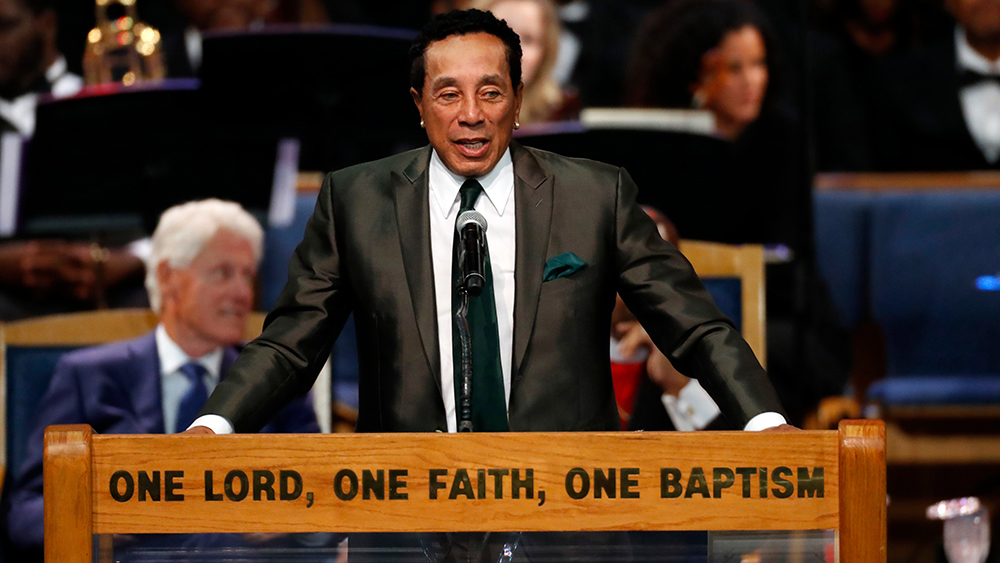 Smokey Robinson speaks during the funeral service for Aretha Franklin at Greater Grace Temple, in Detroit. Franklin died Aug. 16, 2018 of pancreatic cancer at the age of 76Aretha Franklin, Detroit, USA - 31 Aug 2018