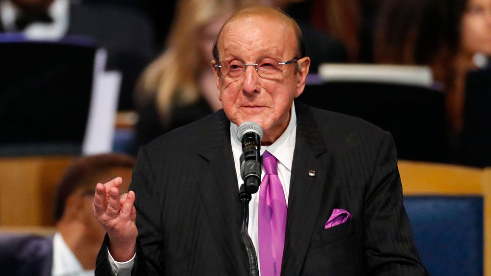 Record producer Clive Davis speaks during the funeral service for Aretha Franklin at Greater Grace Temple, in Detroit. Franklin died Aug. 16, 2018 of pancreatic cancer at the age of 76Aretha Franklin, Detroit, USA - 31 Aug 2018