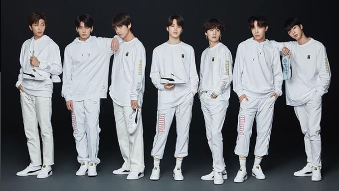 BTS puma collaboration basket sneakers shop